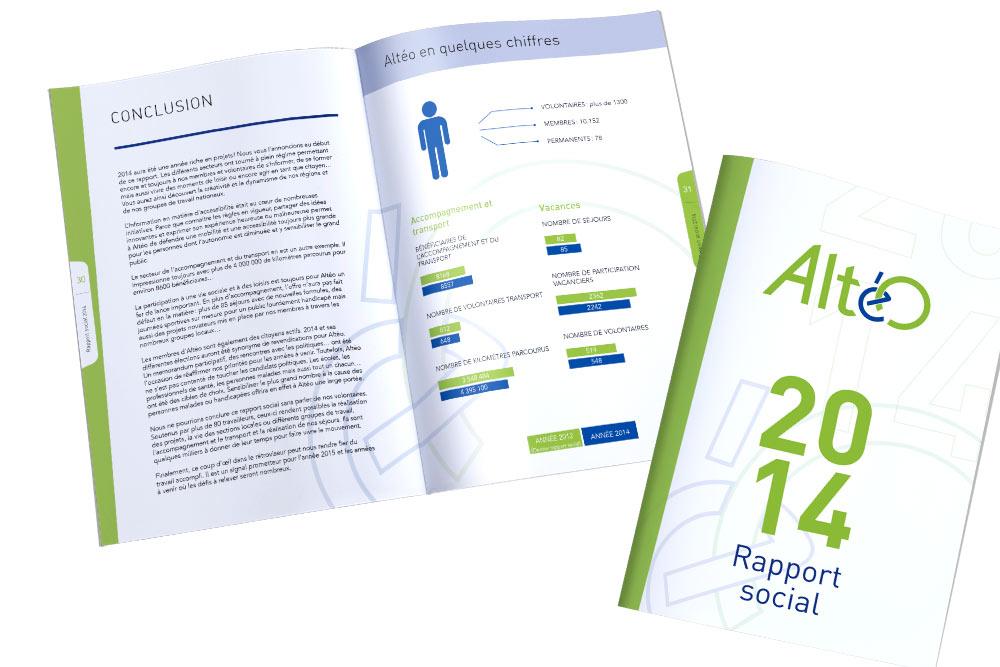 Mise en page du rapport d'activités de Aléto, mouvement social de la mutualité chrétienne